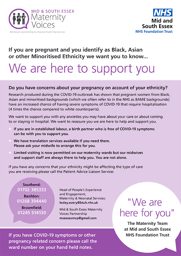 If you are pregnant and you identify as Black, Asian or other Minoritised Ethnicity we want you to know
