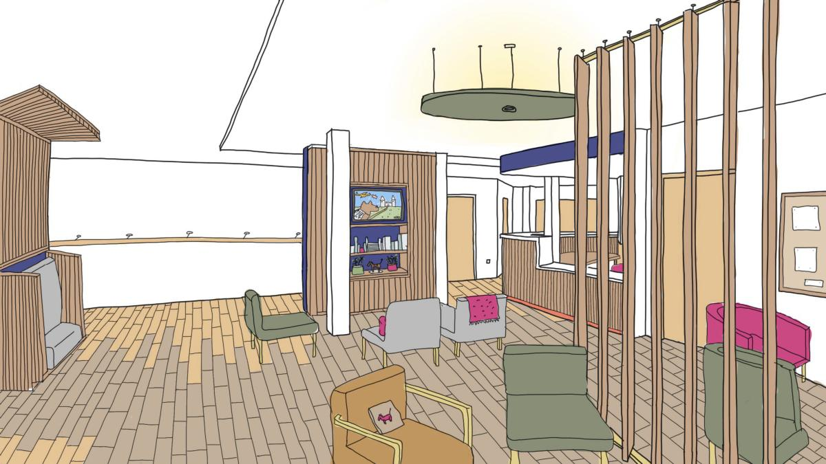 Artist's impression of Broomfield chemotherapy waiting room